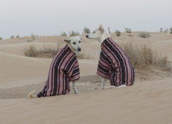 """Risha I. und Gueteya, nach einer kalten Nacht (noch im """"Schlafanzug"""")"""