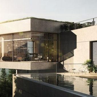 Modernes Wohnhaus mit WAREMA Basis-Außenjalousie