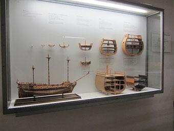 帆船の発展過程をわかりやすく見せている展示