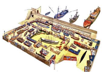 漁労博物館は海に突き出した城砦の中にある。