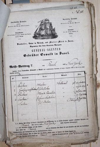 Vertrag der Agentur Gebr. Oswald, Basel, mit der Familie Martin Fricker aus Wittnau.  Mit dabei war auch der wenige Wochen alte Säugling Josef Anton.