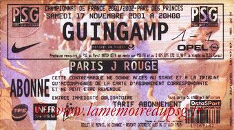 Ticket  PSG-Guingamp  2001-02