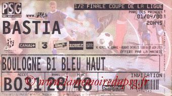 Ticket  PSG-Bastia  1999-00