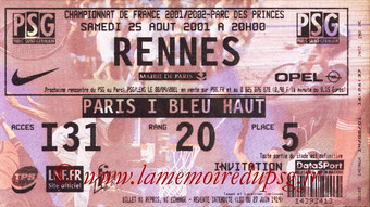 Ticket  PSG-Rennes  2001-02