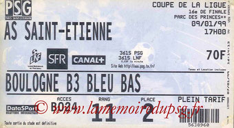Ticket  PSG-Saint Etienne  1998-99