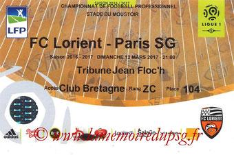 Ticket  Lorient-PSG  2016-17