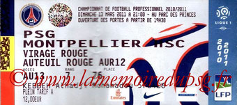 Ticket  PSG-Montpellier  2010-11