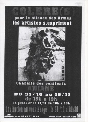 """Affiche de """" Colère(s) """" pour le silence des armes en 2003 avec le Carrefour des Artistes ."""