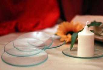 Glasteller Kerzen