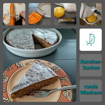 Karottenkuchen aus der runden Ofenhexe von Pampered Chef