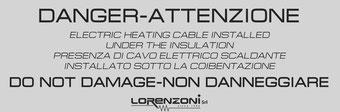 Etichetta di avvertimento per cavi scaldanti Lorenzoni