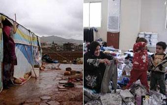 Da es im Libanon keine offiziellen Flüchtlingslager gibt, errichten die Familien selbst provisorische Unterkünfte oder versuchen, irgendwo unterzukommen.