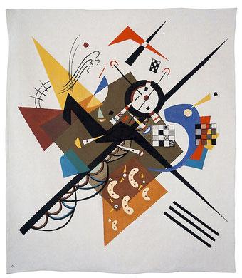 Tapissserie moderne de Kandinsky tissée sur métier Jacquard. Format 150 x 130 cm. Doublée et prête à etre accrochée au mur.