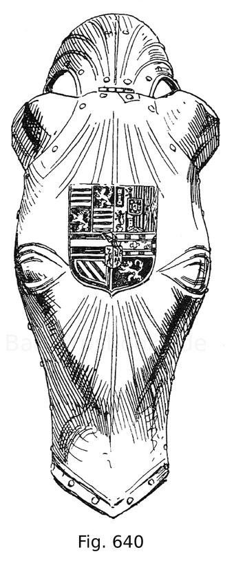 Fig. 640. Geblendete Rossstirn mit dem habsburgischen Wappen aus dem Besitz des Königs Ferdinand I. Arbeit des Augsburger Plattners Lorenz Helmschmidt. Um 1510.