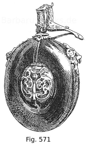 Fig. 571. Kleine Pulverflasche mit Pulversperre aus Horn mit Silberbeschlägen. In den Gehäusen befindet sich einerseits eine Uhr, anderseits ein Kompass. Sächsische Arbeit. Um 1580. Sammlung der Frau Gräfin Zierotin in Blauda in Mähren.