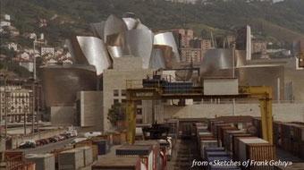 Guggenheim Museum - Bilbao - scorcio della città con vista del museo