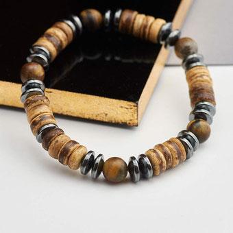 Bracelet perles de coco et hématite