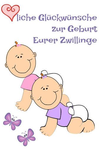 Glückwunschkarte Geburt  Zwillinge