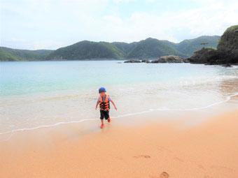 泳いでみたり、ビーチをお散歩したり。。。