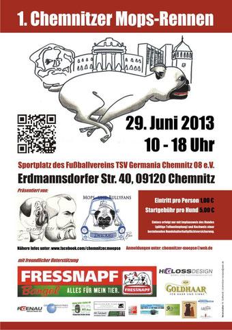 Der Flyer zum ersten Chemnitzer Mopsrennen