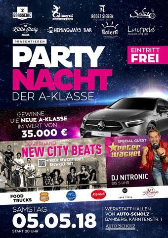 Die Bamberger Partynacht Werbeplakat 2018 - Peter Wackel, New City Beats, Dj Nitronic