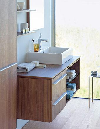 Waschtischanlage mit Ablage und viel Stauraum. Copyright Duravit AG