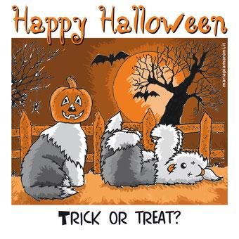 alt-img-disegno-bobtail-halloween-tshirt-illustrazione-spiritosa-zucca-in-testa-cane-svenuto-per-lo-spavento