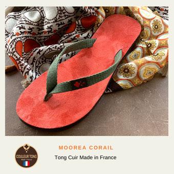 Tongs cuir multicolore