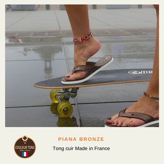 Tong femme cuir made in France
