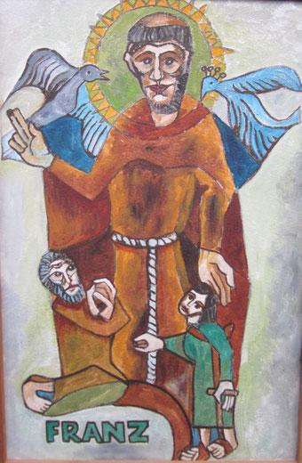 Der Heilige Franz - Ölgemälde von Peter Hodiamont (1925-2004) - Schenkung der Fondation Hodiamont an die Vereinigung St. Franziskus von Assisi Garnstock VoG