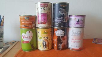 unser Dosenfutter von verschiedenen Marken