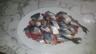 das alle zu einen leckeren fisch kommen schneiden wir den fisch in grobe stücke hier haben wir 2 Makrele mit 1 kg Kopffleisch angerichtet