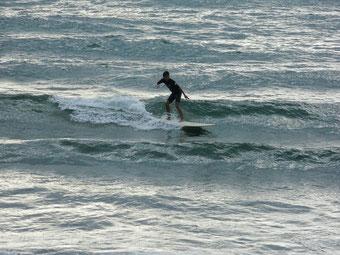 弱く吹いていた南西の風で少し波が出てきました。