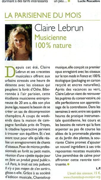 L'éveil des oiseaux, Claire Lebrun, Chanteloup Musique, 2014, article, recettes musicales, détente, son de la nature