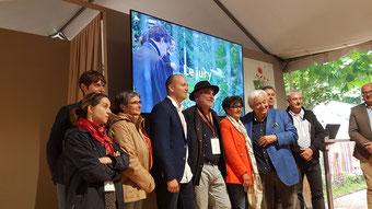 Le jury lors de la présentation des finalistes à Jardins Jardins, aux Tuilleries à Paris