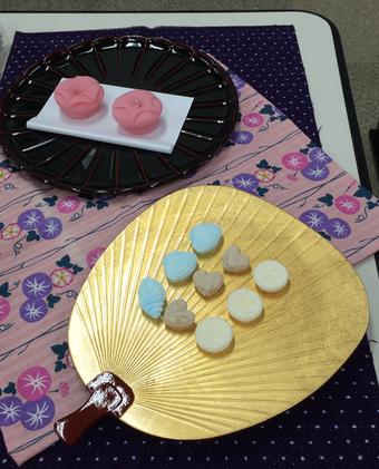 上生菓子の「あさがお」と3種の落雁