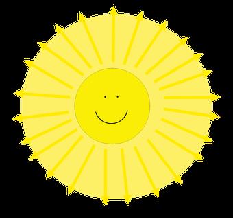 Lichtausbreitung von der Sonne mit angedeutetem Lichtstrahlenmodell