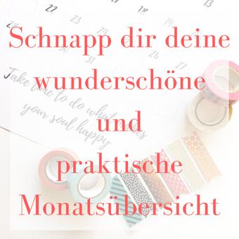 Titelbild: Schnapp dir deine wunderschöne und praktische Monatsübersicht