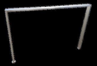 P004 pata fabricada en tubo de 60 x 20mm con niveladores.