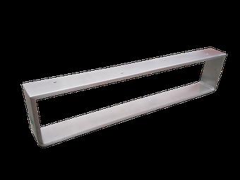 Pata para mueble bajo fabricado en pletina de acero inoxidable.