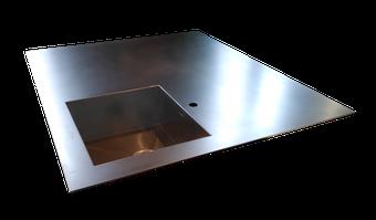Encimera en 5mm de grueso acero inoxidable con fregadero soldado en una sola pieza