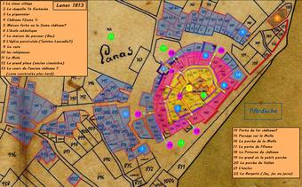 Repèrage des points d'intérés du village sur le cadastre 1813.