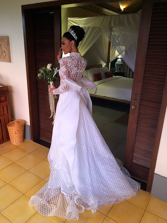 Whulan in her second gown for the international wedding.