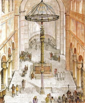 Die Christussäule in St. Michael (bis 1810). Rekonstruktion Carpiceci/Gallistl