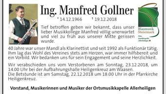 Wir trauern um Manfred Gollner