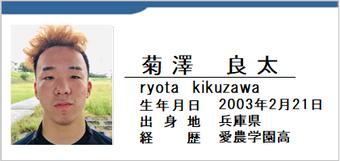 菊澤良太/ryota kikuzawa/兵庫県/ラグビー歴:愛農学園高