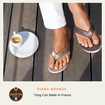 Tong cuir femme made in France