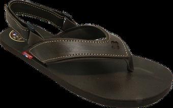 Sandale tong cuir Chocolat