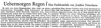 Übermorgen Regen - Ankündigung im Tagesspiegel (24.1.1956)
