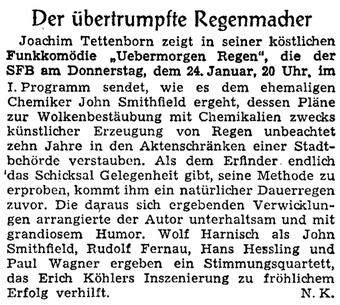 Der übertrumpfte Regenmacher - Ankündigung im Berliner Kurier (23.1.1957)